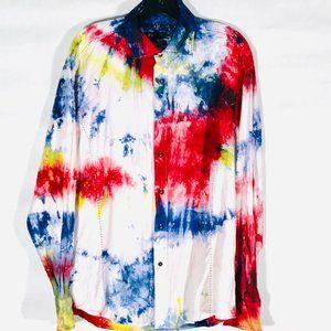 ZAGARI Custom Shirt Tie Dye Blue Red Rodeo Cowboy